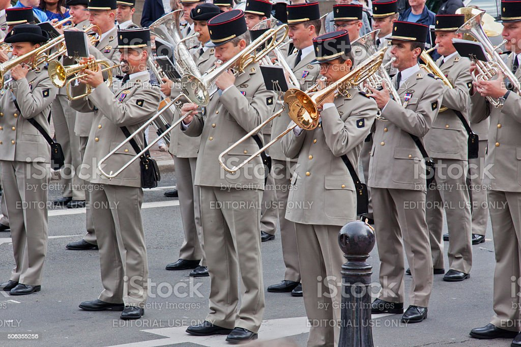Military band playing during Bastille Day celebrations in Lille, France stock photo