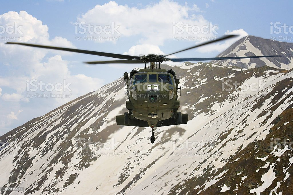 Military blackhawk helicopter medical mountain rescue stock photo
