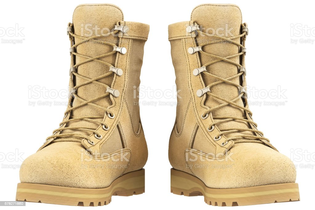 Military boots, front view stock photo