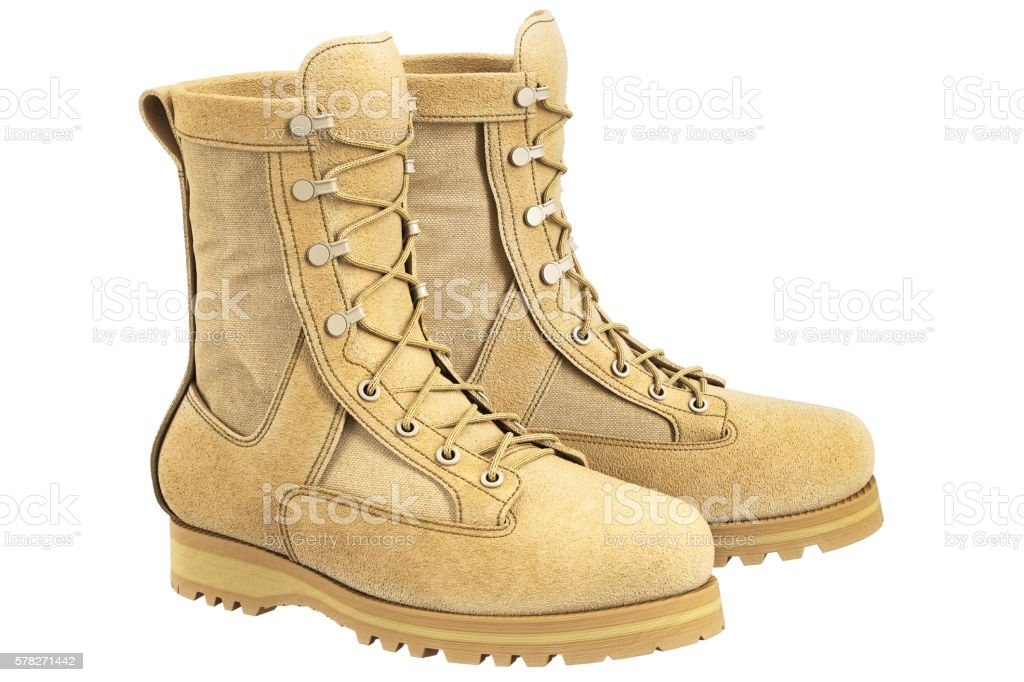 Military boots with shoelace, beige stock photo
