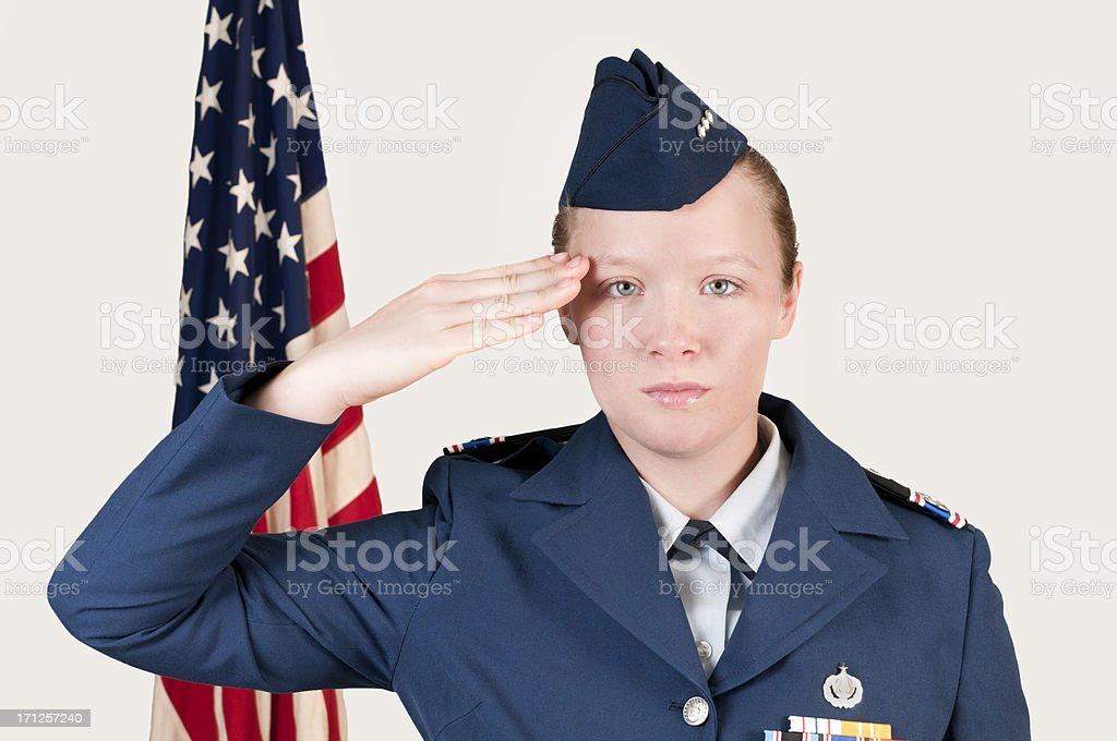 Military Cadet Salute front view stock photo