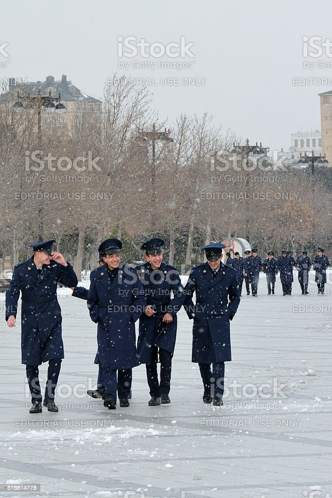 Military cadets on Baku Bulvar in the snow stock photo