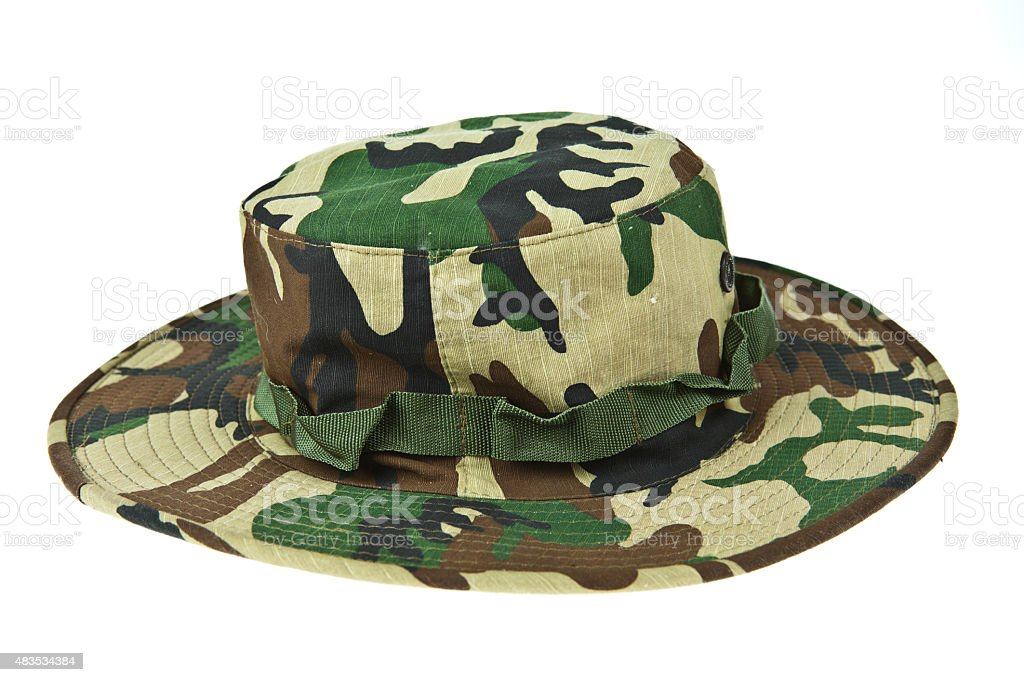 Military camouflage hat desert stock photo