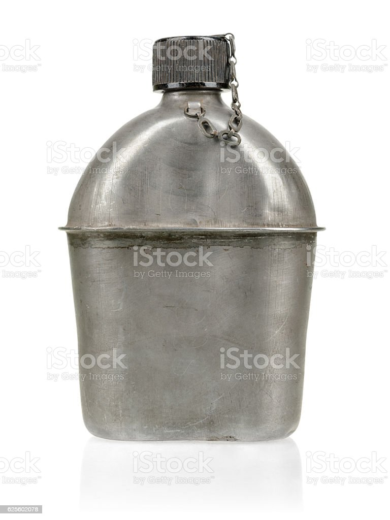 WWII US military canteen isolated on white background. stock photo