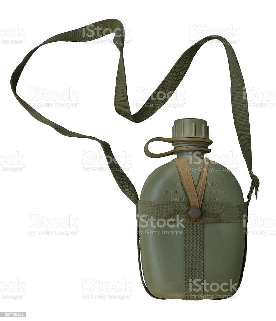 Military canteen / isolated white stock photo