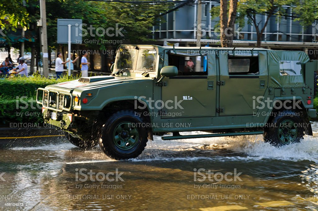military car for flood crisis royalty-free stock photo