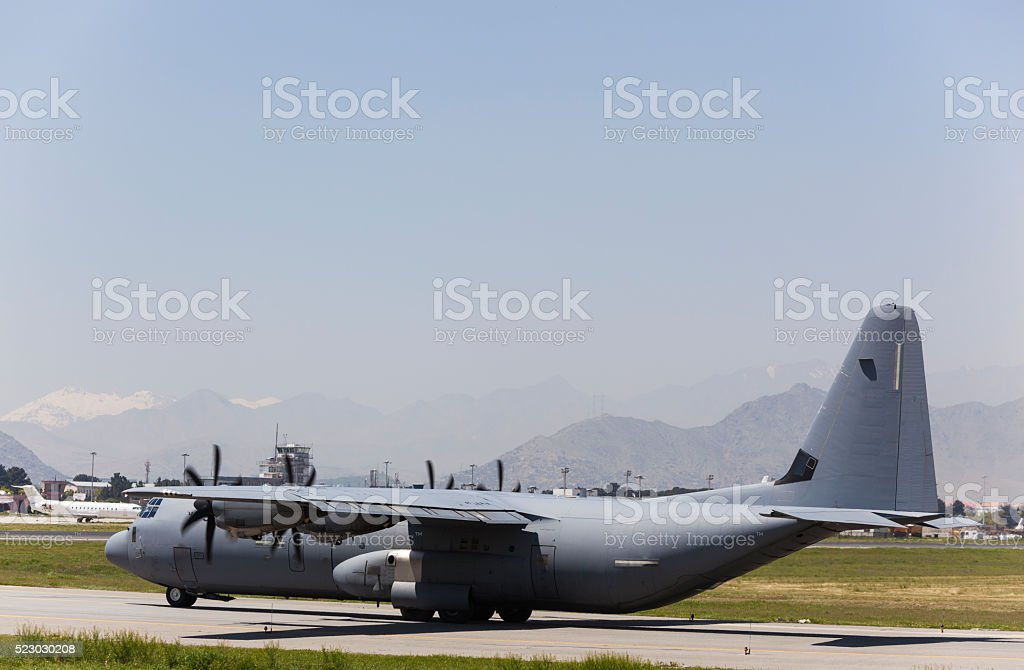 Military cargo aircraft stock photo