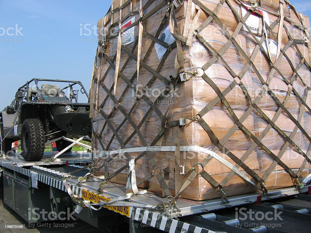 Military cargo bags on truck with vehicle for war stock photo