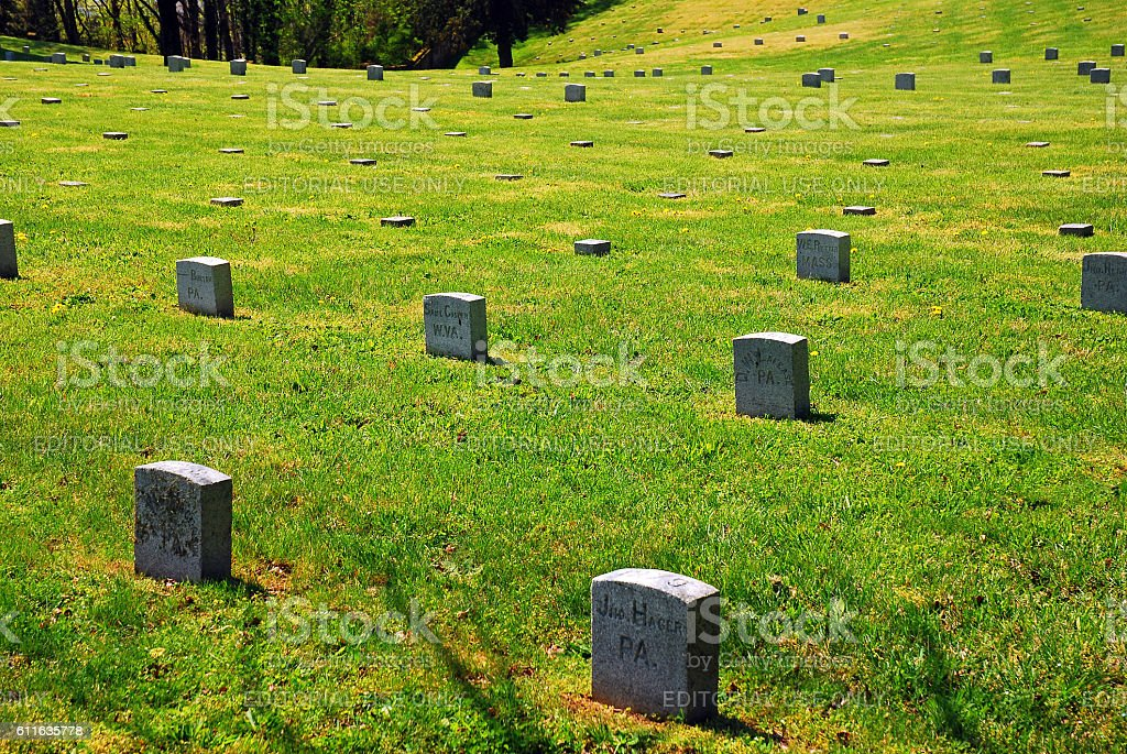Military Cemetery at Fredericksburg a Civil War Cemetery stock photo