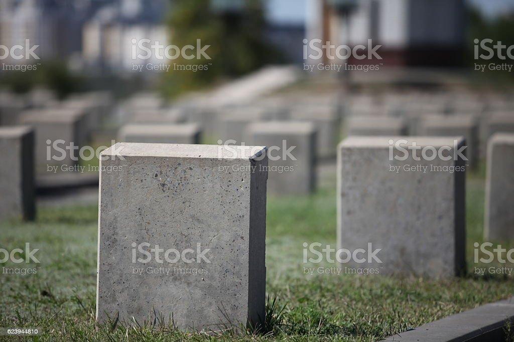 military cemetery empty gravestone stock photo