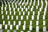 military cemetery headstones mark dead veterans graves