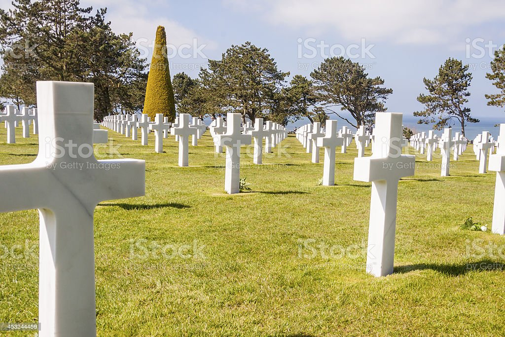 Military cemetery - Omaha Beach, Normandy France. stock photo