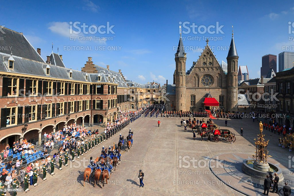 military ceremony on Binnenhof during Prinsjesdag in The Hague stock photo