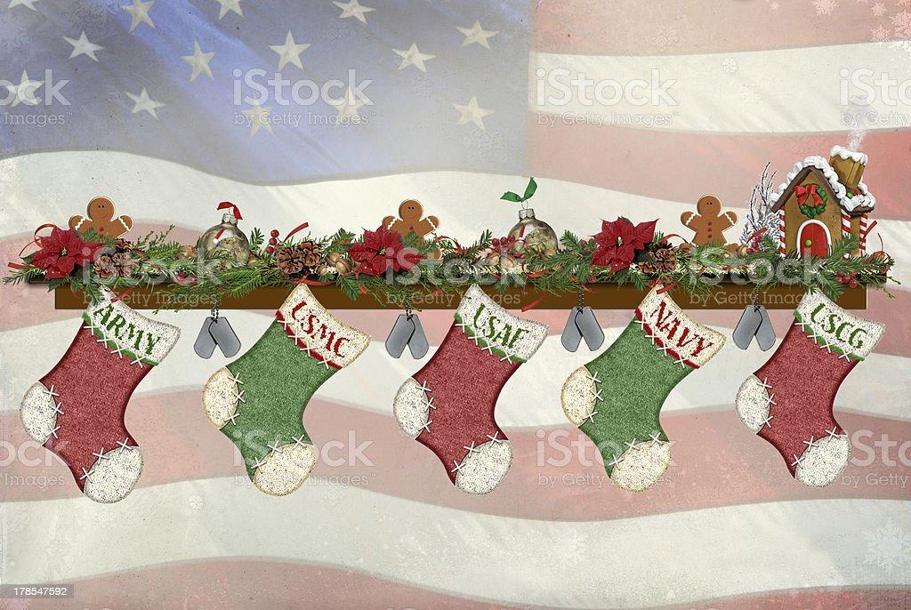 Military Christmas stockings stock photo