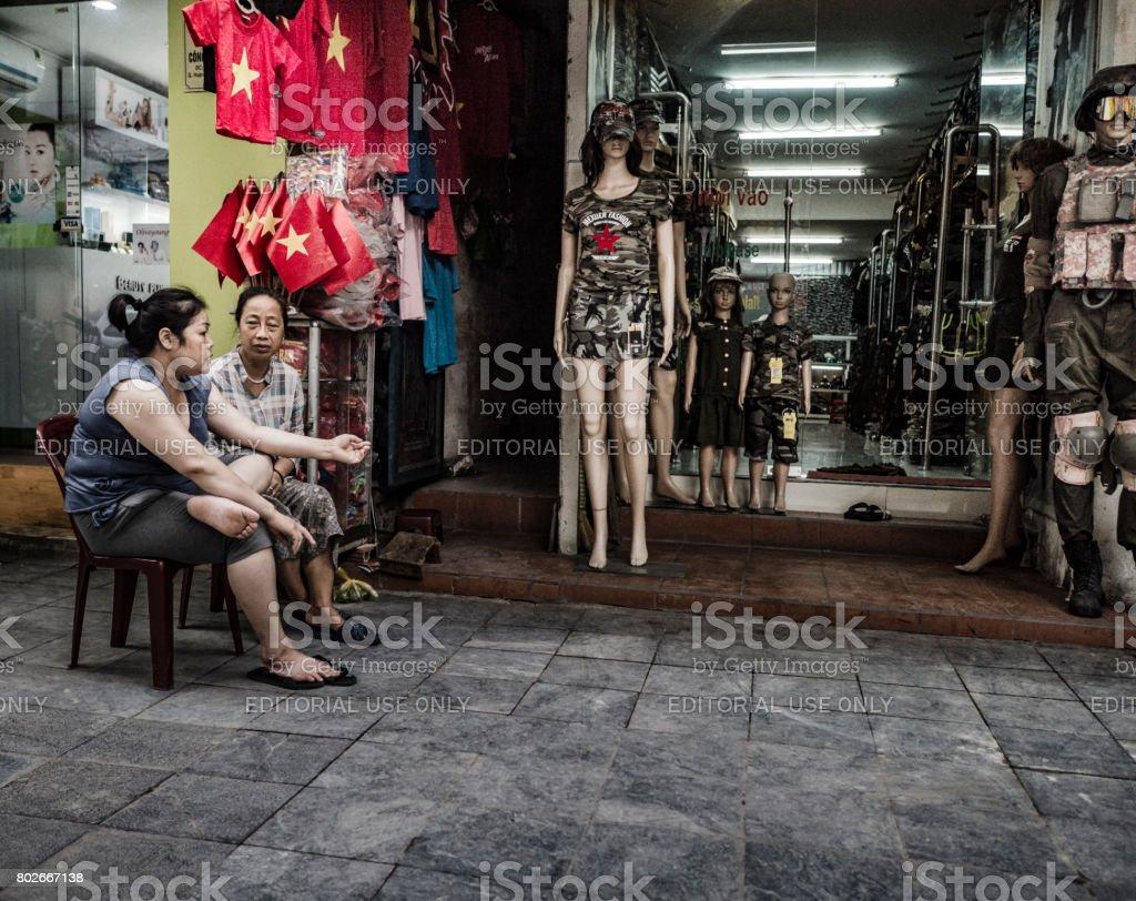 Military clothing shop Hanoi Vietnam stock photo