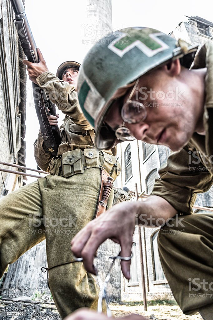 WWII Military Combat Medic Emergency Casualty Triage stock photo