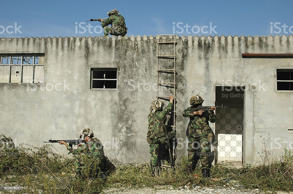 Military combat training of clearing urban areas stock photo