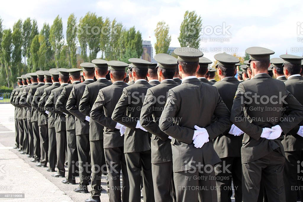 Military Corps at attention during indipendence parade stock photo