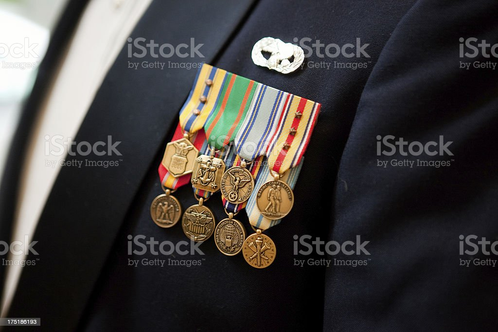 Military Decorative Metals Pined on Man's Suit royalty-free stock photo