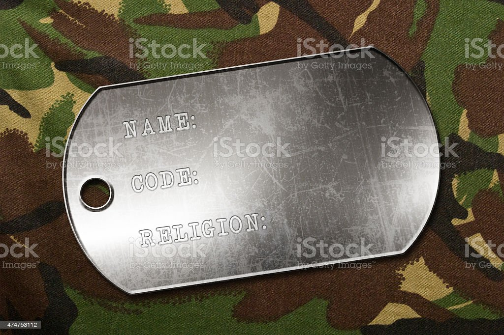 military dog tag stock photo