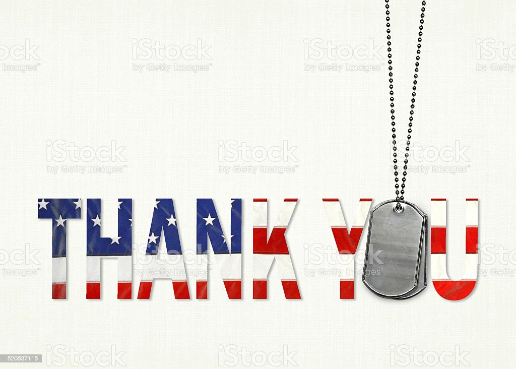 military dog tag thank you stock photo