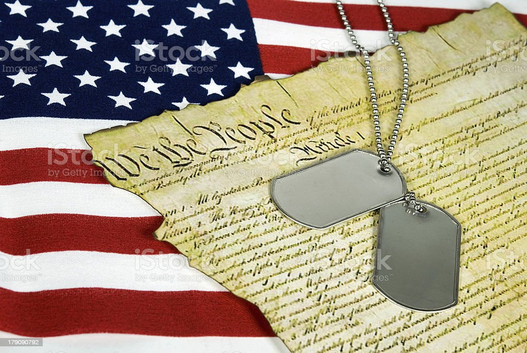 military dog tags on document royalty-free stock photo