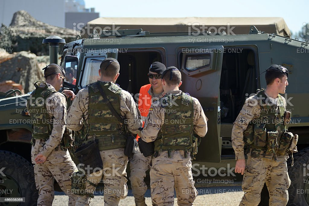 UME military drill in the town of Daimiel, Spain. stock photo