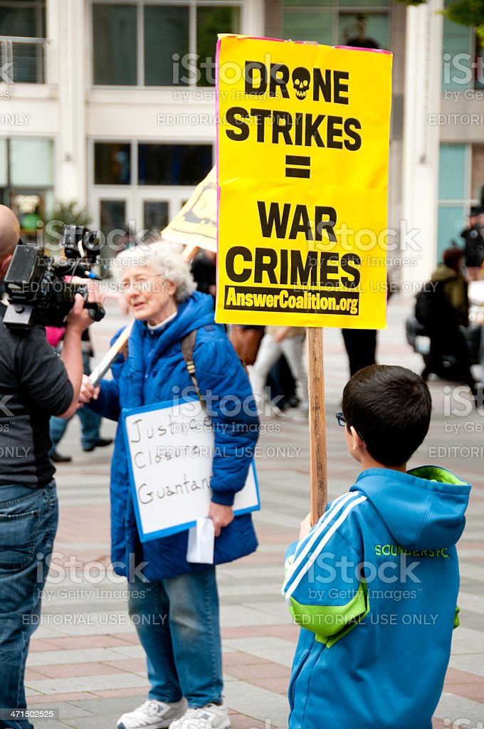 Military Drone Protest royalty-free stock photo