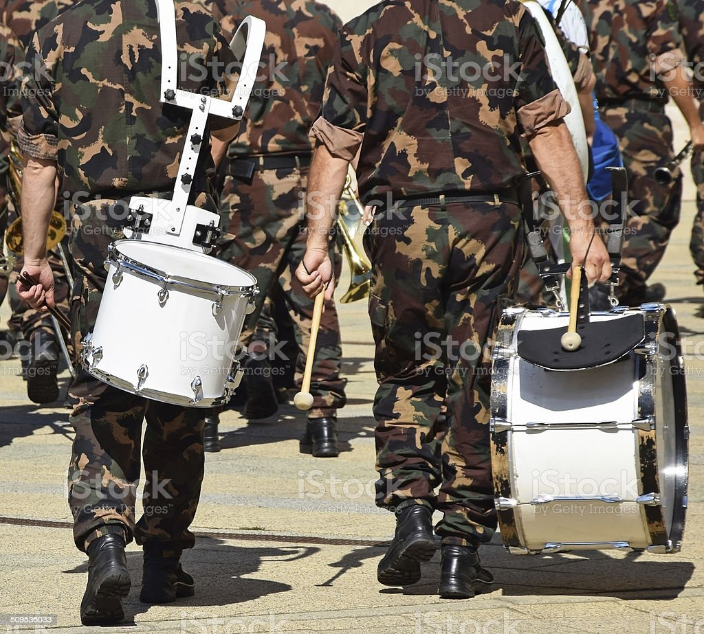 Military drummers stock photo
