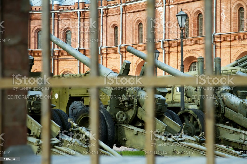 military equipment in the outdoor museum in Saint-Petersburg, Russia stock photo
