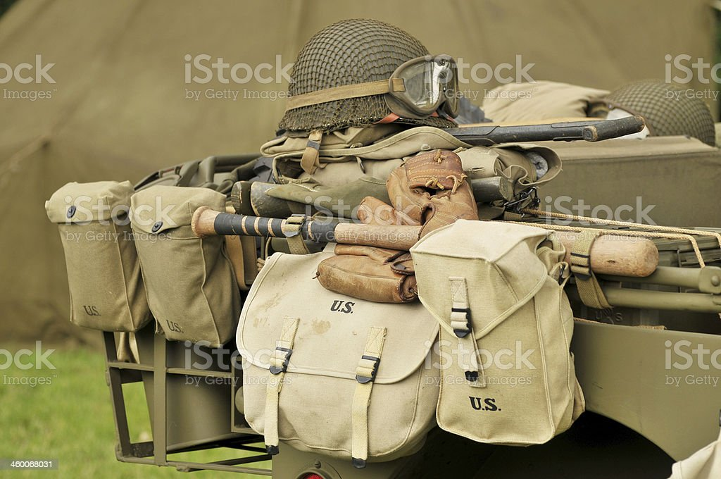 WW2 US Military Equipment royalty-free stock photo