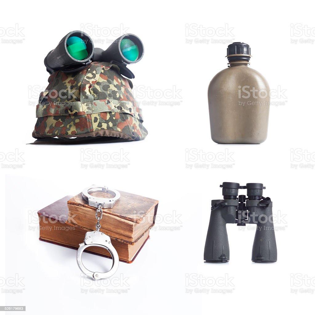 Military equipment set,collage stock photo