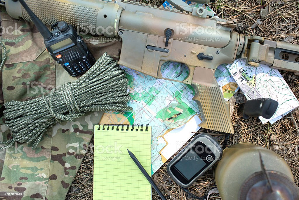 Military exploration set in the wood stock photo