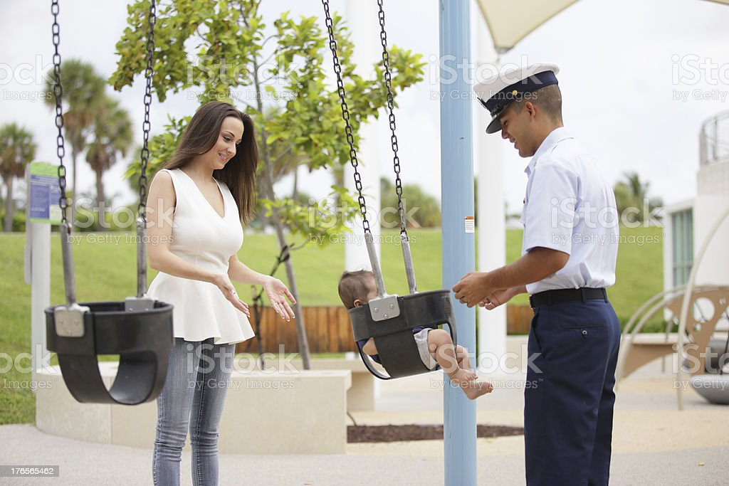 Military family in the park royalty-free stock photo