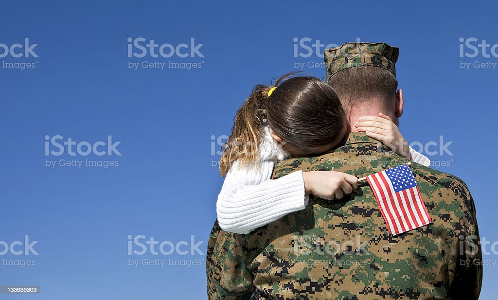 Military Father and Daughter Reunited stock photo