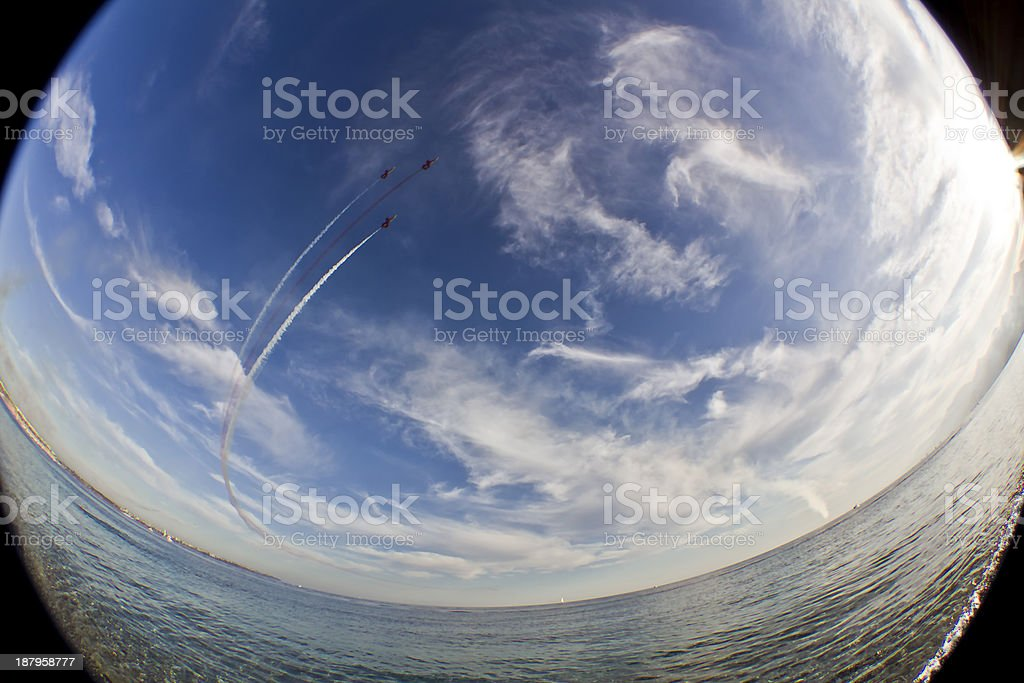 Military fighter jet during demonstration stock photo