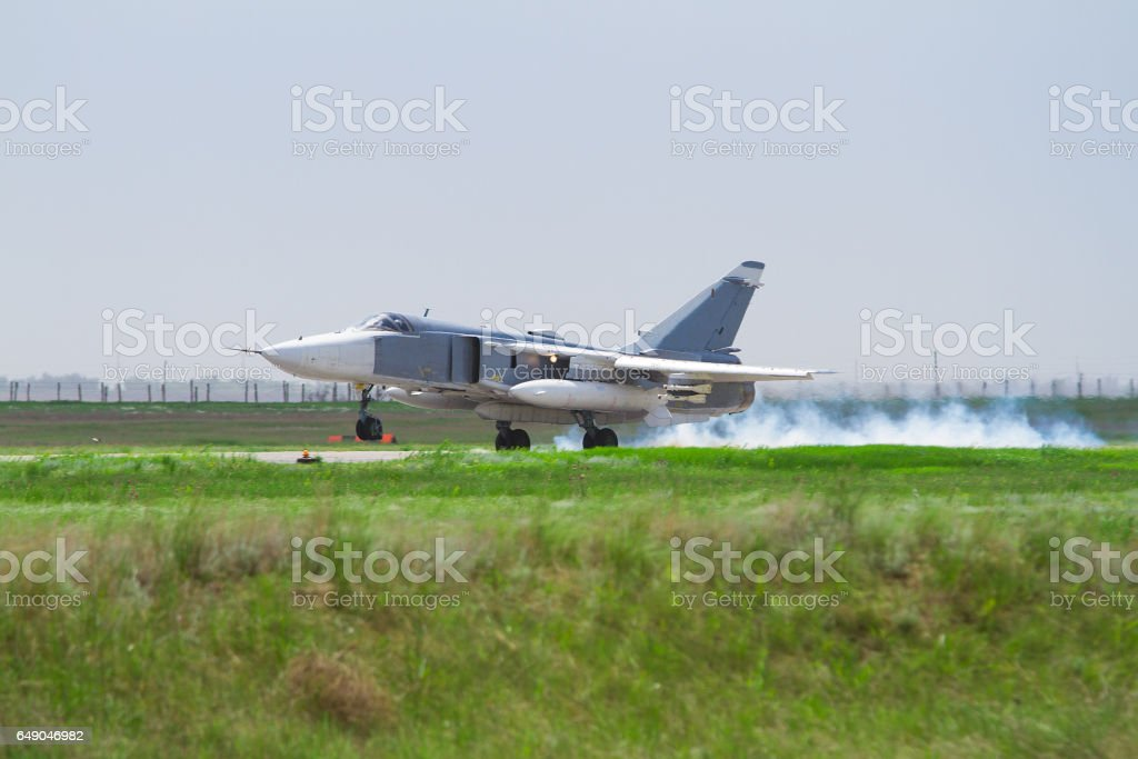 Military fighter landed stock photo