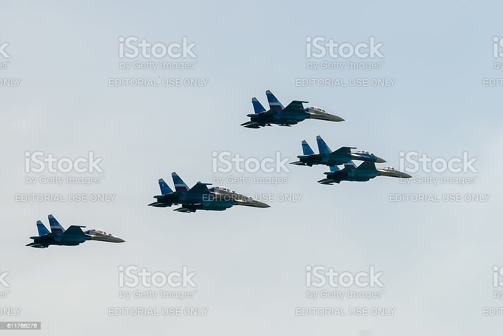 Military fighters SU-27 at demonstrative flight stock photo
