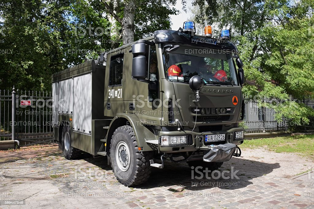 Military firetruck IVECO Eurocargo stock photo