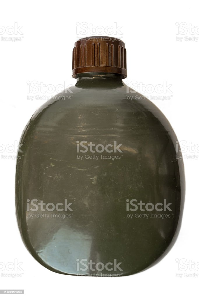 Military flask green army style stock photo