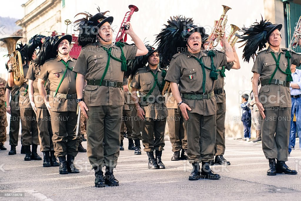 Military forces playing trumpets royalty-free stock photo