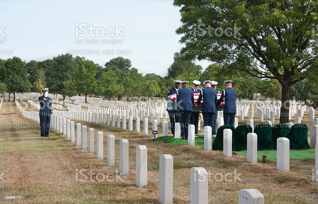 Military funeral Arlington National Cemetery stock photo