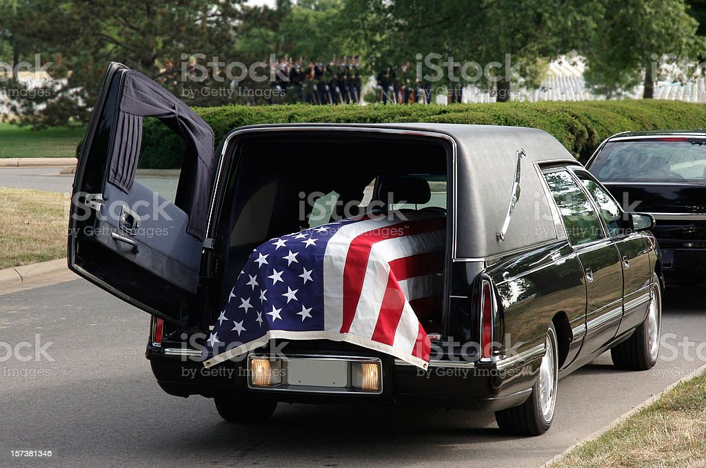 Military Funeral hearse stock photo
