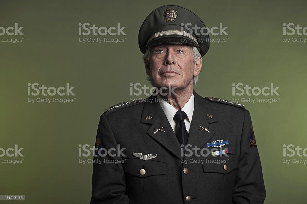 Military general in uniform. Studio portrait. stock photo