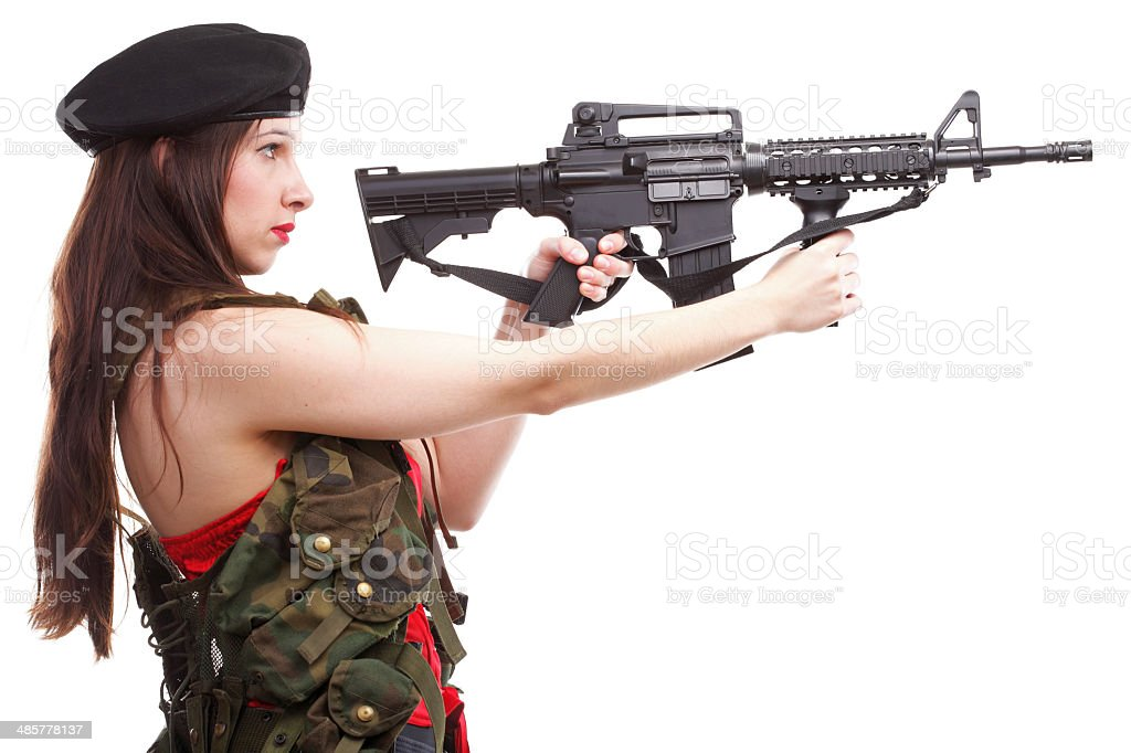 Military girl holding rifle isolated on white stock photo