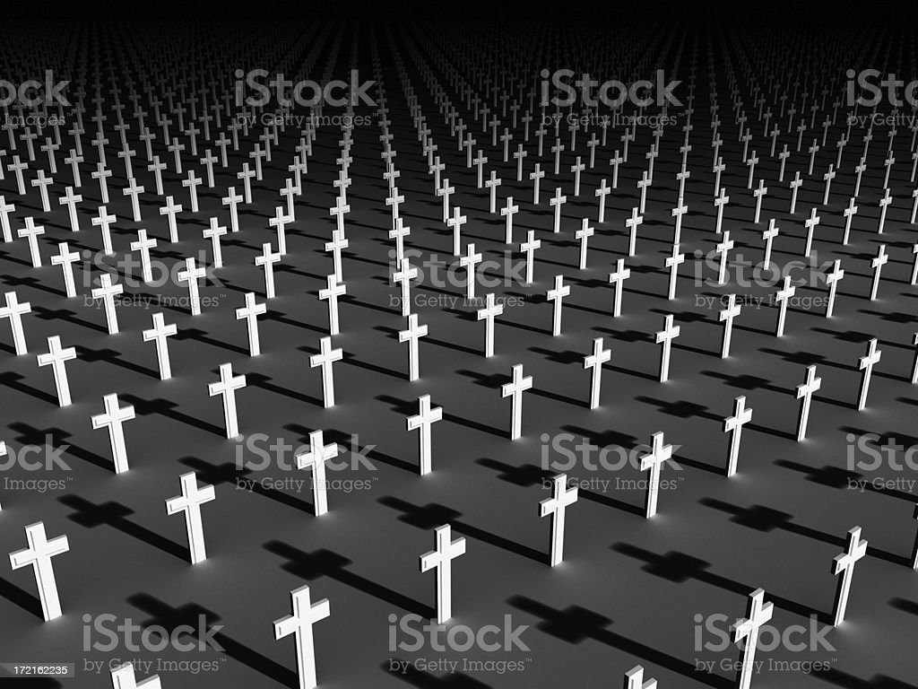 Military Graveyard dark stock photo