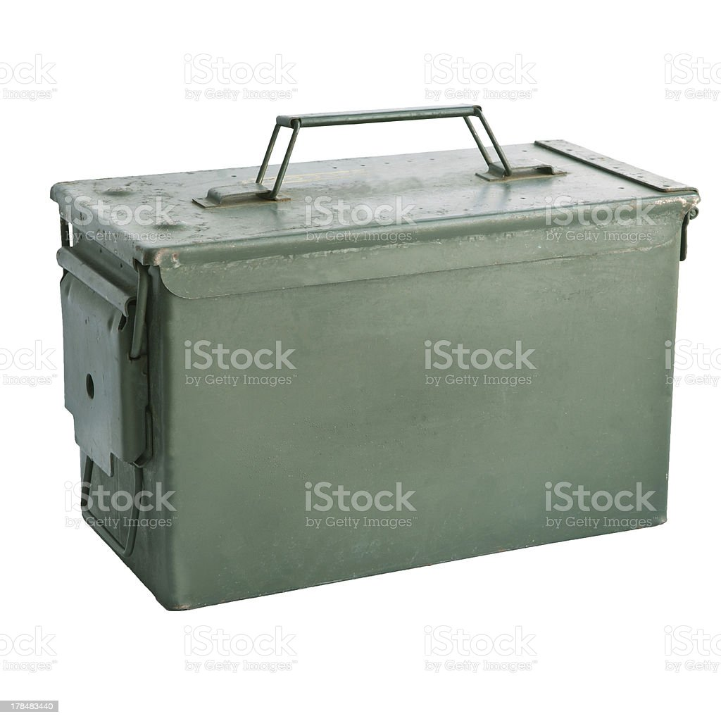 military green metal bullet box isolated on white background stock photo