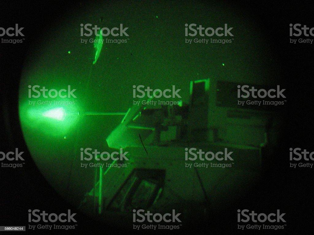 Military Gun Fire Seen Through Night Vision Goggles stock photo