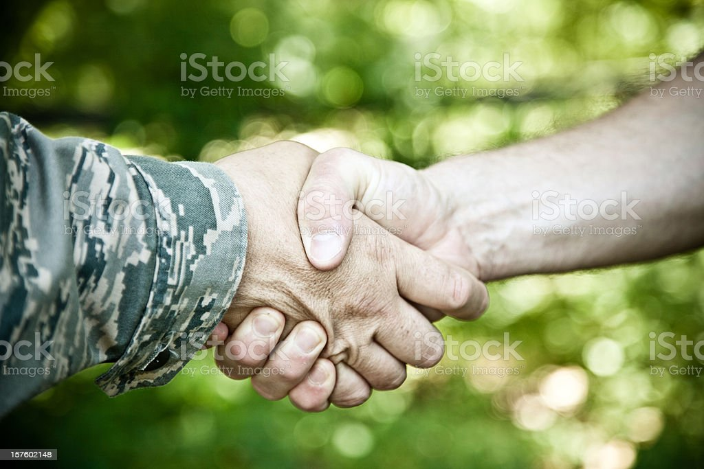 Military Handshake stock photo