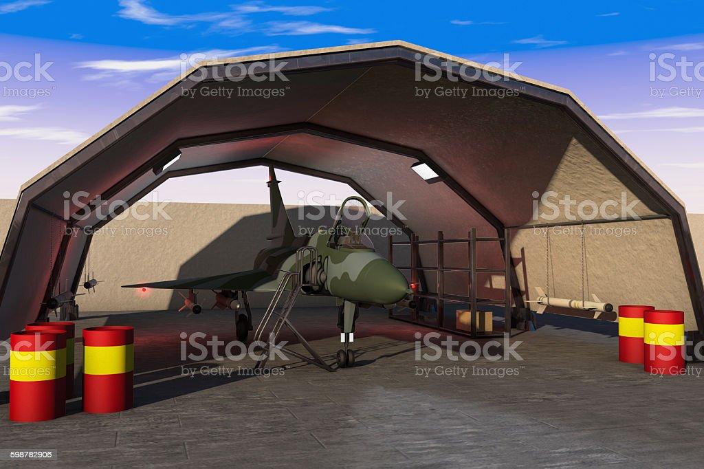 Military hangar stock photo